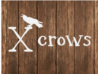 A logo of a Crow sitting on an X